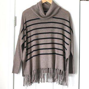 Fate tan black stripe fringe turtleneck sweater